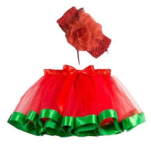 Faldas Cortas Tul NiñAs,Mini Falda Plisada Fiesta Tutu Ballet Vestido de Princesa Arcoiris Arco Iris Tul Capas de Faldas Ballet Danza,Traje de Baile Chica con Banda para El Pelo Tocado de Flores