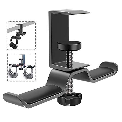Soporte para auriculares con doble soporte giratorio de 360 grados hecho de aleación de aluminio de alta calidad. Ahorra espacio en el escritorio para todos los auriculares inalámbricos o con cable.