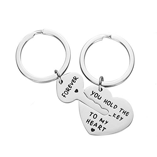 Amody Stainless Steel Keychains Gift, Couple Keychain Gifts Heart Lock and Key with Engraving You Hold The Key to My Heart Forever Silver Keychains Jewelry
