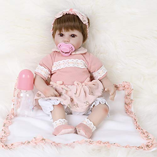 ENA Reborn Baby Doll Realistic Silicone Vinyl Cute Headband Baby 16 inch Weighted Soft Body Lifelike Doll Gift Set for Ages 3+(Cute Headband)