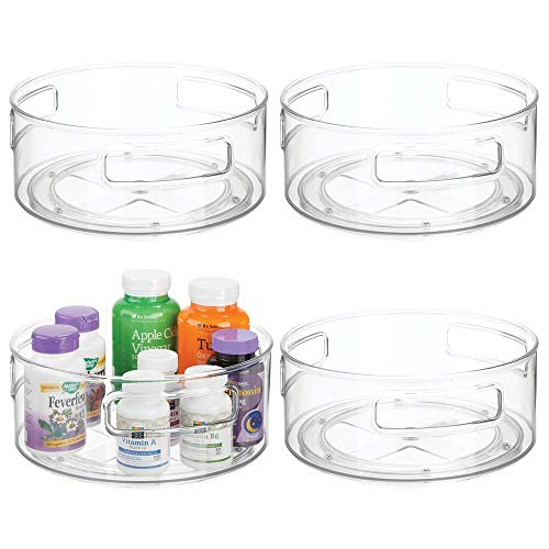 mDesign Plastic Spinning Lazy Susan Round Turntable Storage Tray - Rotating Organizer for Makeup Cosmetics Nail Polish Vitamins Shaving Kits Medical Supplies First Aid 4 Pack - Clear