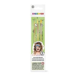 Package includes 3 paint brushes This set features a light green colored brushes, in round, fine and flat used for covering large areas or painting fine details Perfect for halloween party, themed party, costume party and birthday party make up It is...