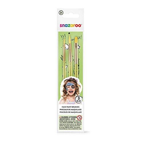 Snazaroo - Set de 3 pinceles para pintura facial, color verde