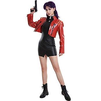 Cosplay.fm Women s Katsuragi Misato Cosplay Costume Jacket Dress with Cross Necklace  L  Red