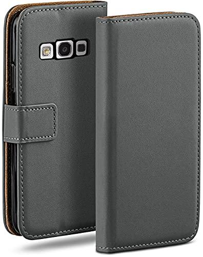 moex Klapphülle für Samsung Galaxy S3 / S3 Neo Hülle klappbar, Handyhülle mit Kartenfach, 360 Grad Schutzhülle zum klappen, Flip Hülle Book Cover, Vegan Leder Handytasche, Dunkelgrau