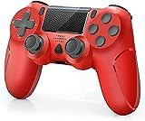 Manette sans Fil pour PS4 Manette Gamepad pour PS4/ PS4 Slim/ PS4 Pro Console avec Double Vibration Moteur, Rouge