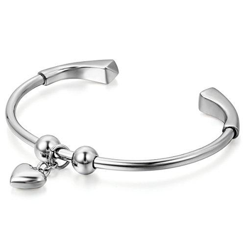 JewelryWe Schmuck Damen Armband, Herz Poliert Charms Offen Armreif, Edelstahl, Silber