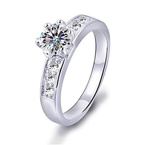 yichahu Anillo de boda de lujo para mujeres y niñas, con circonita AAA, de plata de ley, con piedra de circonita cúbica, anillo de compromiso para mujeres