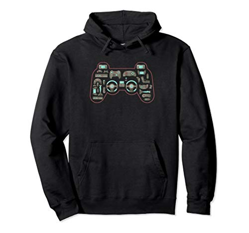 Vintage Gaming Controller Shape Gamepad Video Gaming Icons Pullover Hoodie
