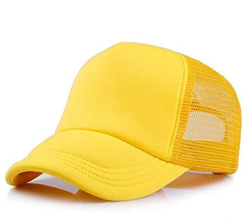 Polister Hombres Mujeres Gorra de bisbol Malla Snapback Imprimir Logo Sombrero de Camionero-Full yellow-54-58(Adult)