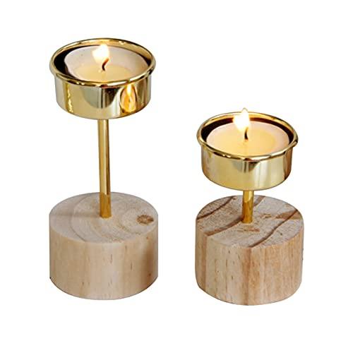 Hanren 2 portavelas de metal con base de madera dorada, moderna y minimalista, estilo nórdico, decoración para el hogar, boda, mesa de trabajo