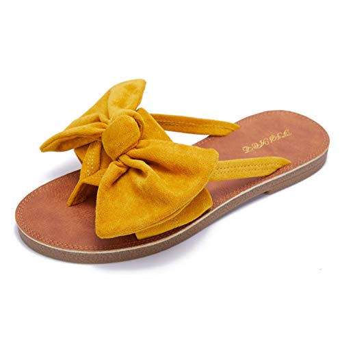 FISACE Womens Slip On Flip Flops Ring Toe Strappy Casual Summer Gladiator Flat Sandals Yellow