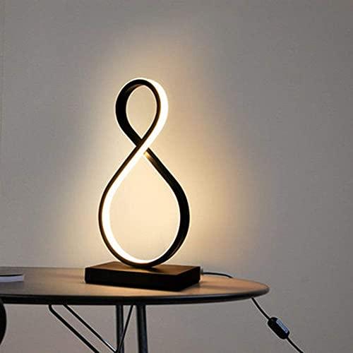YXKA Lámpara De Mesa Led Minimalista Moderna, Diseño De 8 Palabras, Dormitorio, Sala De Estar, Lámpara De Modelado Led De Acrílico Creativo (Negro) [Nivel De Energía A]