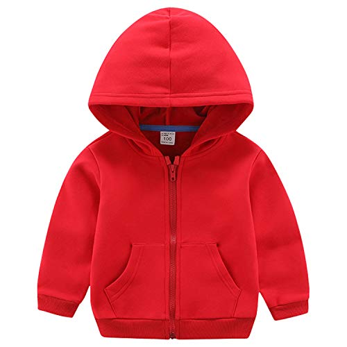 ANIMQUE Bambini Unisex Felpa Giacca Zip Fodera in Pile Tinta Unita Cotone Termica Felpa con Cappuccio Invernale, Rosso 130