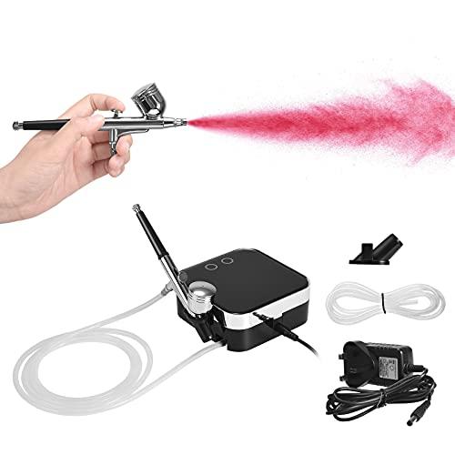 Vogvigo Kit de aerógrafo de compresor, juego de pintura en aerosol de cepillo de aire de compresor de aire para aerógrafo de alimentación por gravedad con juego de limpieza