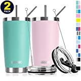 Koodee 2 Pack 20 oz Stainless Steel Tumbler Insulated Travel Coffee Mug with 4 Straws, 2 Straw Lids, 2 Straw Brushes (20 oz, Teal and Pink)