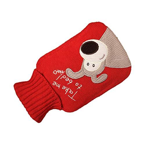 Symina 500ml Wärmflasche Mit Bezug Wärmflasche Tier Handwärmer Abdeckung Wärmebeutel Für Schmerzlinderung/Wärmflasche Mit Doppeltem Verwendungszweck Rutschfeste Verbrühungshemmende (Puppy)