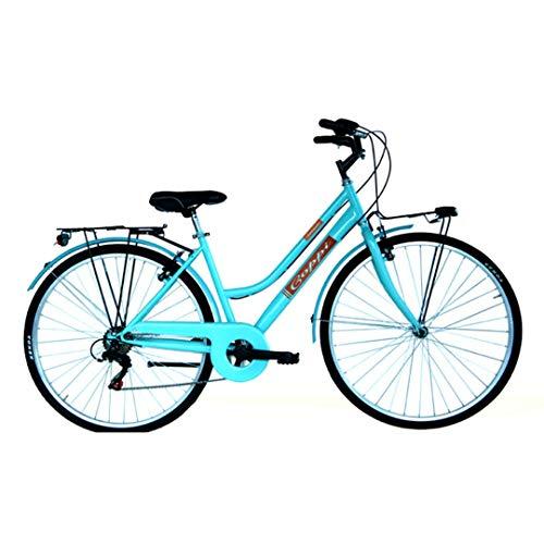"""Coppi Bicicletta donna 28"""" Retrò Sorrento Trekking Acciaio (Azzurro)"""