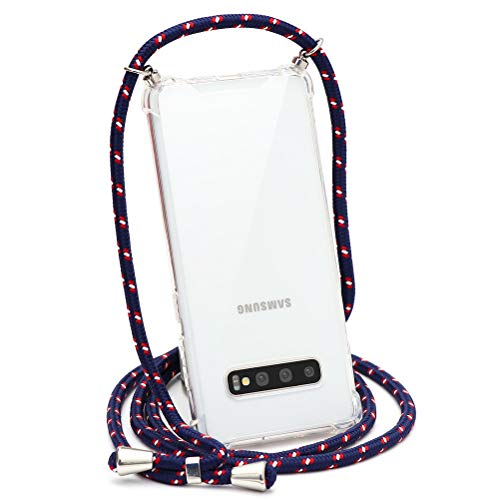 ZhuoFan Funda con Cuerda para Samsung Galaxy J7 2016, Cárcasa Silicona Airbag Transparente con Colgante Ajustable Collar de Cuello Cadena Cordón Case Fundas Colgar Movil para Samsung J7 2016, 14