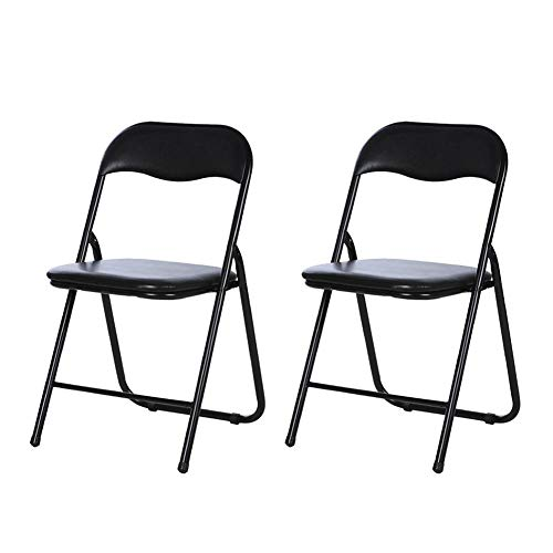 Chaise Pliante Dall Armature De Fer Chaise De Bureau Siège Rembourré en PU Chaise De Bureau D'ordinateur Brace Double Stable Durable (Couleur : Noir, Taille : 2 Pieces)