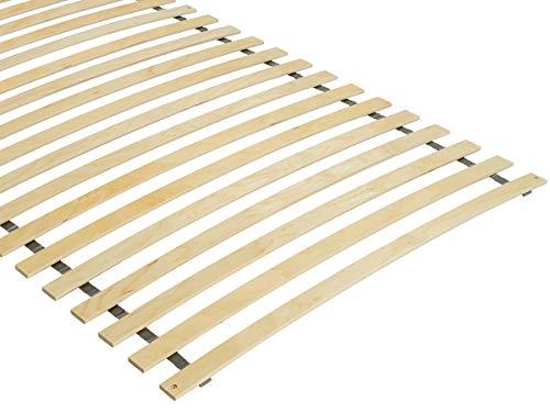 BMM Somier enrollable premium con 28 listones de madera curvados, fijación opcional, apto para todos los colchones, enrollado y listo para montar.
