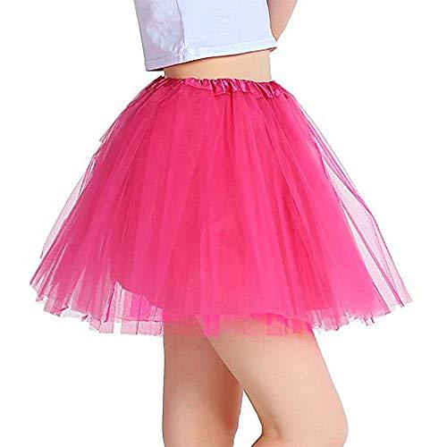 Vientiane Tutu Falda de Mujer Falda de Tul 80's,Vestido de Lujo Enagua para Chica de Mujer para Fiesta de Disfraces Fiesta de Gallina (Rosa Roja)