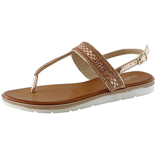 Dailyshoes Thong Sandals With Rhinestones Flat Sandal T-strap Flip-flop Slingback Ankle Strap Soft Decoration Open Toe Adjustable Thin Heel Summer Three Metallic Colors Shoes Laurie-01 Rose Gold Gl 7.5