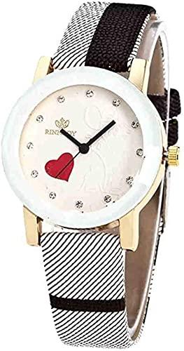 JZDH Mano Reloj Reloj de Pulsera Simple Womans Womans Watch Reloj de Lujo de Lujo Reloj de Pulsera de Cuarzo Reloj de Cuero Relojes Relojes Reloj Reloj Relojes Decorativos Casuales (Color : Negro)