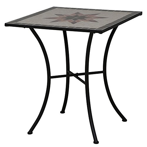 Siena Garden 875352 Tisch Stella, 64x64x71cm, Gestell: Stahl, pulverbeschichtet in schwarz matt, Fläche: Mosaik,Tischplatte: Keramik