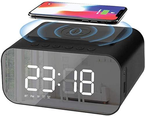 HUIQ Reloj Despertador Digital Radio de cabecera con Carga inalámbrica Qi y Puerto USB Altavoz Bluetooth Pantalla LED Regulable Que no Hace tictac Alimentación de Red con batería de Respaldo