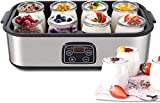 MVPOWER Yogurtiera con Timer Yogurtiera Elettrica 25W con 8 Vasetti, Yogurtiera con LED Display e...