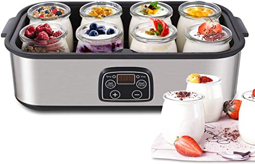 Yogurt Maker - MVPower Automatic Digital Yogurt Machine with 8 Glass Jars 48 Ozs