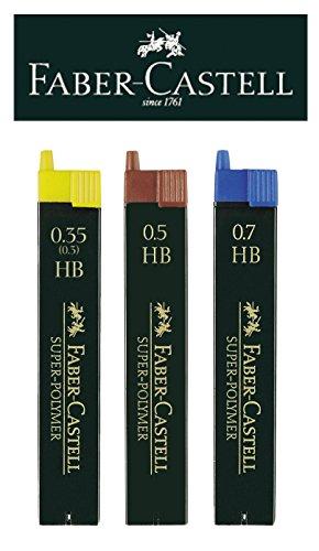 Faber-Castell Feinminen-Set Super-Polymer, 0,35/0,5/0,7mm, HB, Ersatzminen, 3er