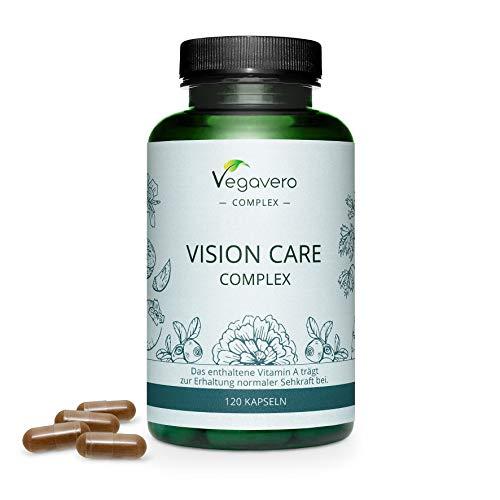 Luteína Complex Vegavero® | 100% Libre de Aditivos | Con Zeaxantina + Betacaroteno + Vitamina B2 + Citrato de Zinc + Extracto de Arándano y Kaki | 120 Cápsulas | Suplemento para Ojos & Vista