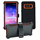 AlphaCell Cover Compatible with Samsung Galaxy Note 8 | Holster Case Series | Military Grade Protection with Carrying Belt Clip | Protective Drop-Proof Shock-Proof | Black/Orange