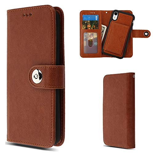 MYBAT MyJacket Purse Case Fits Apple iPhone XR Detachable Magnetic 2-in-1 Wallet Clutch Removable Snap on Back Cover Leather Folio Flip Brown