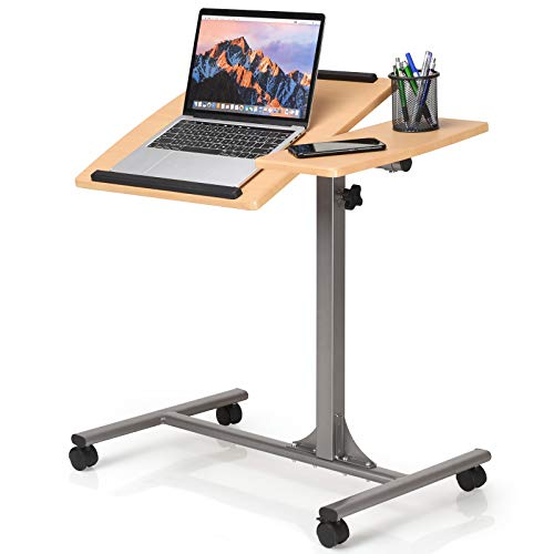 RELAX4LIFE Laptoptisch mit Rollen, Notebooktisch Höhenverstellbar, Neigungsverstellbar, Rolltisch für Laptop, Betttisch mit Eisenständer, Sofatisch 64 x 45 x 71-93 cm, Natur