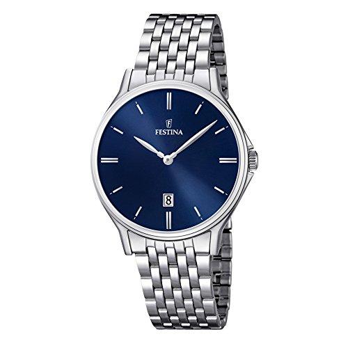 Festina Herren Analog Quarz Uhr mit Edelstahl Armband F16744/3