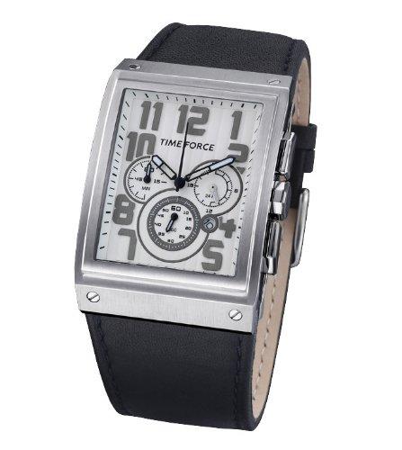 Time Force TF3128M02 - Reloj analógico de caballero de cuarzo con correa de piel negra