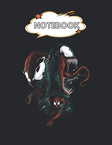 Notebook: Marvel Spiderman Venom And Carnage Graphic Blank Comic Notebook for Kids Marble Size Blank Journal Composition Blank Pages Rule College Rule ... of 8.5'x11' for Drawing Sketching Doodling