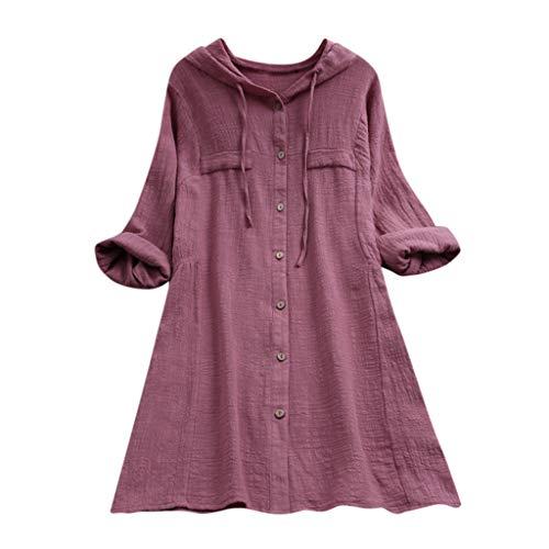 VEMOW Sommer Herbst Elegante Damen Plus Größe Dot Print Lose Baumwolle Casual Täglichen Party Strandurlaub Kurzarm Shirt Vintage Bluse Pulli(Y3-Rosa, 38 DE/M CN)