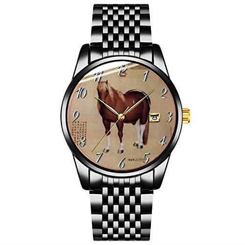 Einzigartige Uhr, Uhr Schwarzes Edelstahlband Uhr für Männer Damen Paare Kinder Jungen & MädchenChinesischer Alter Papyrus Mit Pferd Malerei Uhr Personalisierte Klassische Modeuhr