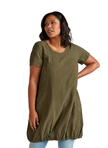 Zizzi Damen Weiches Kleid Knielang Kurzarm Basic Sommerkleid Große Größen M(46/48), Ivy Grün