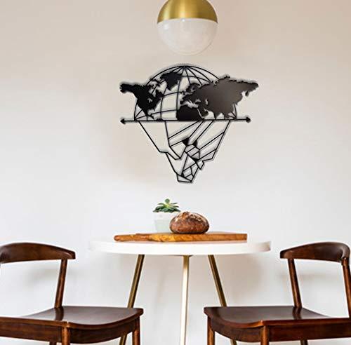 BAUPOR EisEBERG & Weltkarte aus Metall, Wanddekoration, 3D-Metallskulptur, Wanddekoration für Zuhause, Büro, Schlafzimmer, Wohnzimmer, Außendekoration (100 x 49 cm)