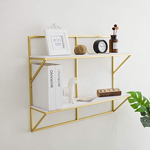 Wall shelf Floating shelf wandplank rechthoekige wandplank | 2 dieren keuken slaapkamer woonkamer drijvende planken | houten en gouden metalen planken | decoratieve hangende planken, ruimtedecoratie zwevende planken 100*17*60CM