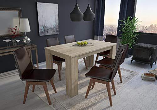 Home innovation : Table de salle à manger et séjour 140 cm rectangulaire, couleur chêne clair, dimensions: 80 Largeur x 138 Longueur 75 cm Hauteur Jusqu'à 6 personnes