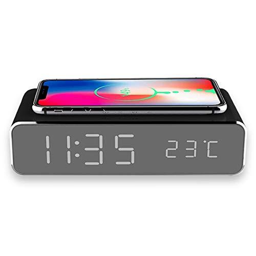 Qiワイヤレス充電器付き LEDミラー時計 LED表示 デジタル表示 光る おしゃれ 置き時計 卓上 アラーム機能付き アラーム時計 温度計 省エネモード めざまし時計 目覚まし時計 USB給電 USBケーブル付属 ミラー mirror プレゼント (ブラ