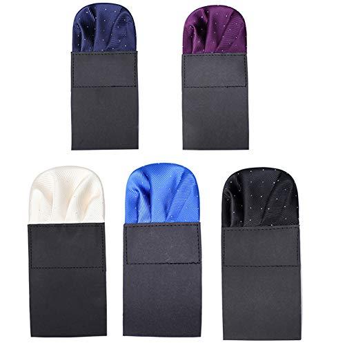 5-teiliges vorgefaltetes Einstecktuch für Männer auf Karte, für formelle Anzüge vorgefaltete Taschentücher für Hochzeit Party HS6 - - Einheitsgröße