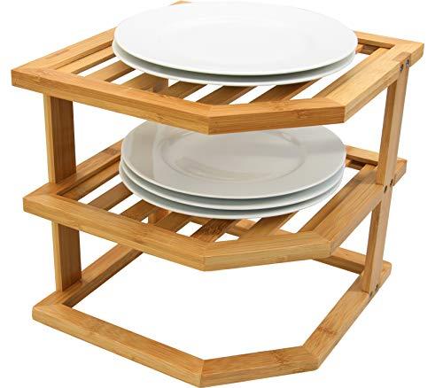 Woodquail Mensola Angolare da Cucina a 3 Ripiani, per Piatti, Organizer per Armadietti, Realizzato in Bambù Naturale