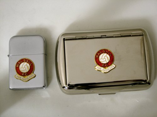 Walsall FC 'The Saddlers' Football Club Petrol Storm Proof Lighter & Tobacco Tin